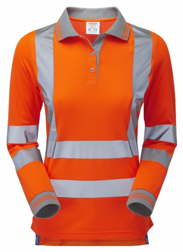 Pulsar PR703 Ladies Rail Spec Long Sleeve Polo Shirt (High Vis Orange)
